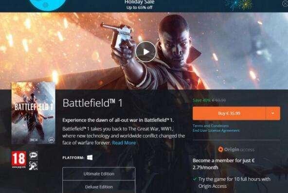 《战地1》现价六五折 EA Origin假日打折