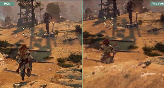 地平线拂晓时候ps4pro与ps4版对照 画质更惊艳