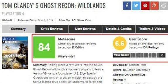 《幽灵行动:荒野》Steam获得玩家特别好评