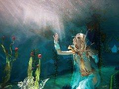 国外美女COS魔兽血精灵牧师 水下风光唯美梦幻