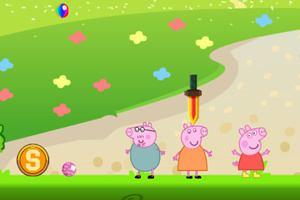 小猪佩奇玩躲避球