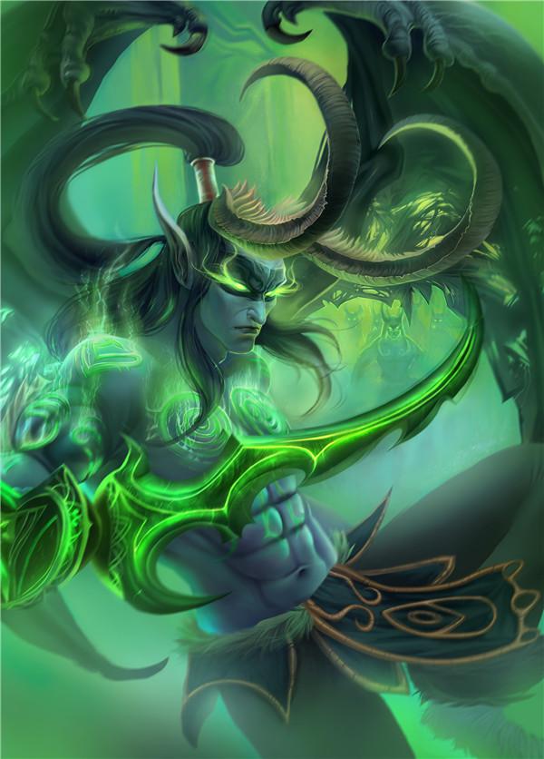 玩家原创画作 身先士卒的伊利丹丶怒风
