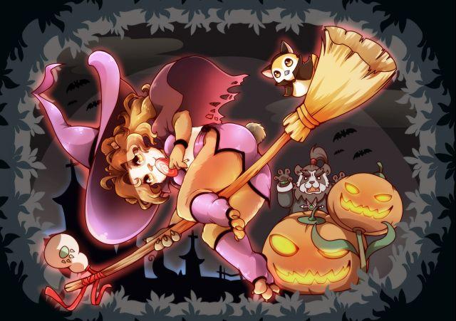 玩家原创画作 万圣节主题小女巫丽丽和老陈