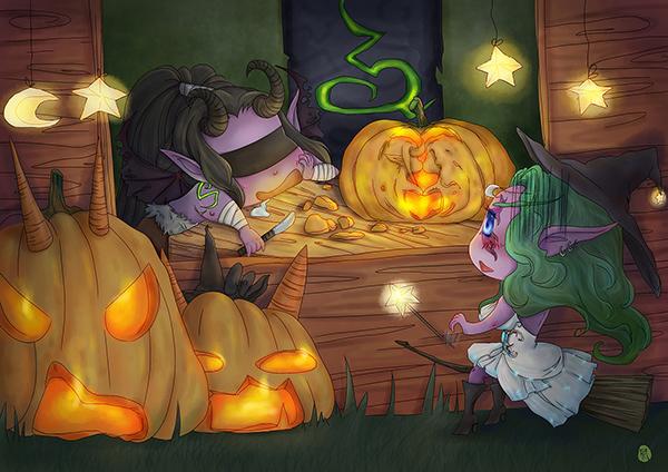 洞窟玩家原创画作 刻南瓜的伊利丹和泰兰德