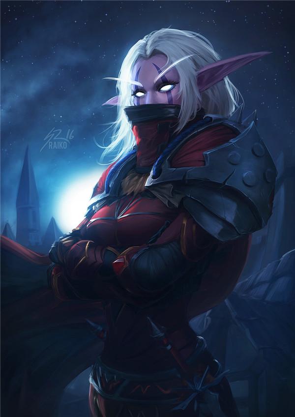 魔兽玩家原创画作 高冷的暗夜精灵盗贼妹子